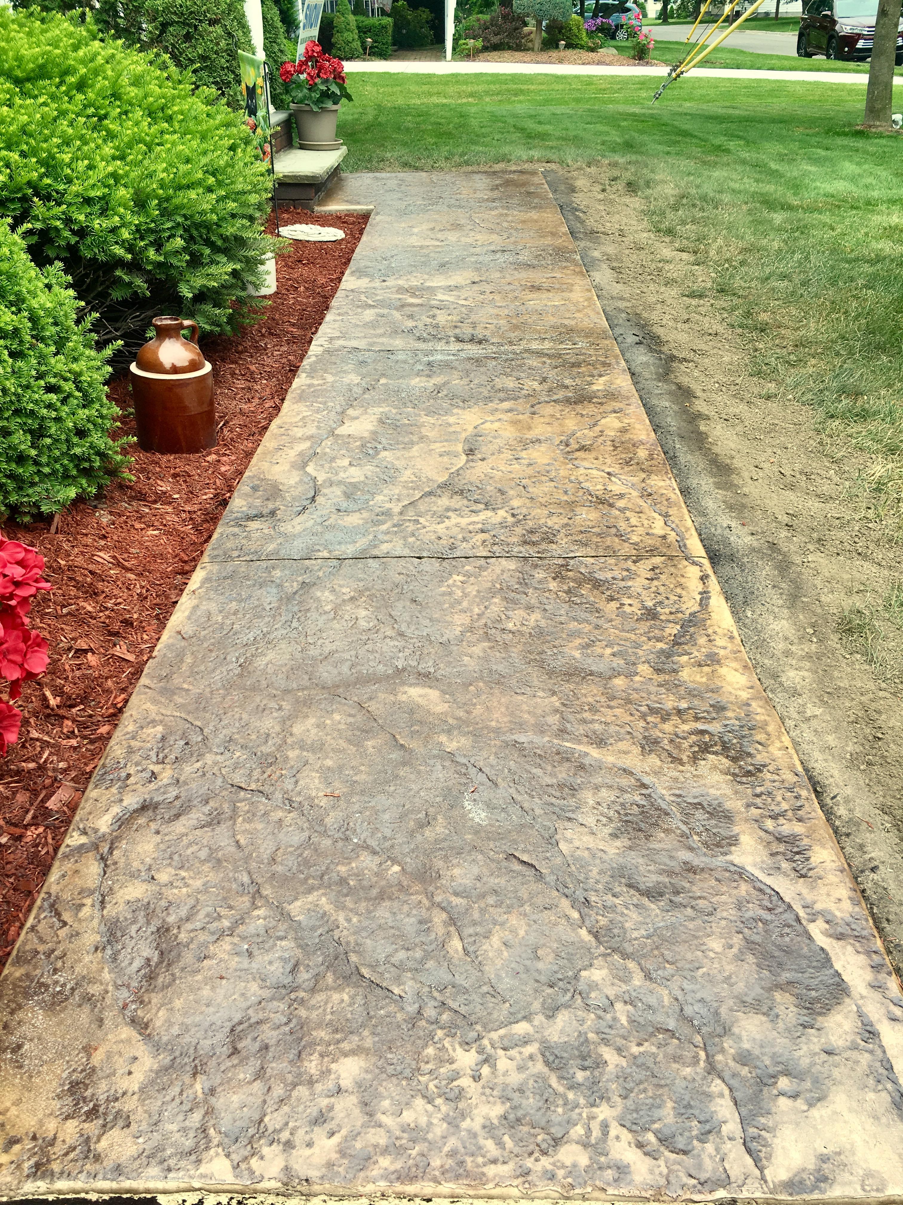 june 2017 -- custom stamped concrete walkway LBTELJE