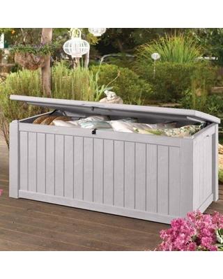 keter white jumbo 150 gallon patio storage bench