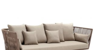 kettal - bitta 3-seater outdoor sofa - dry sand/brown/fabric 285 LVERUIL