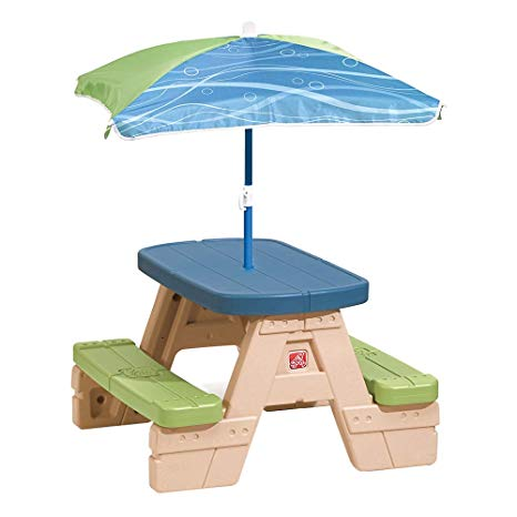 kids outdoor furniture step2 sit and play kids picnic table with umbrella KMQUOOT