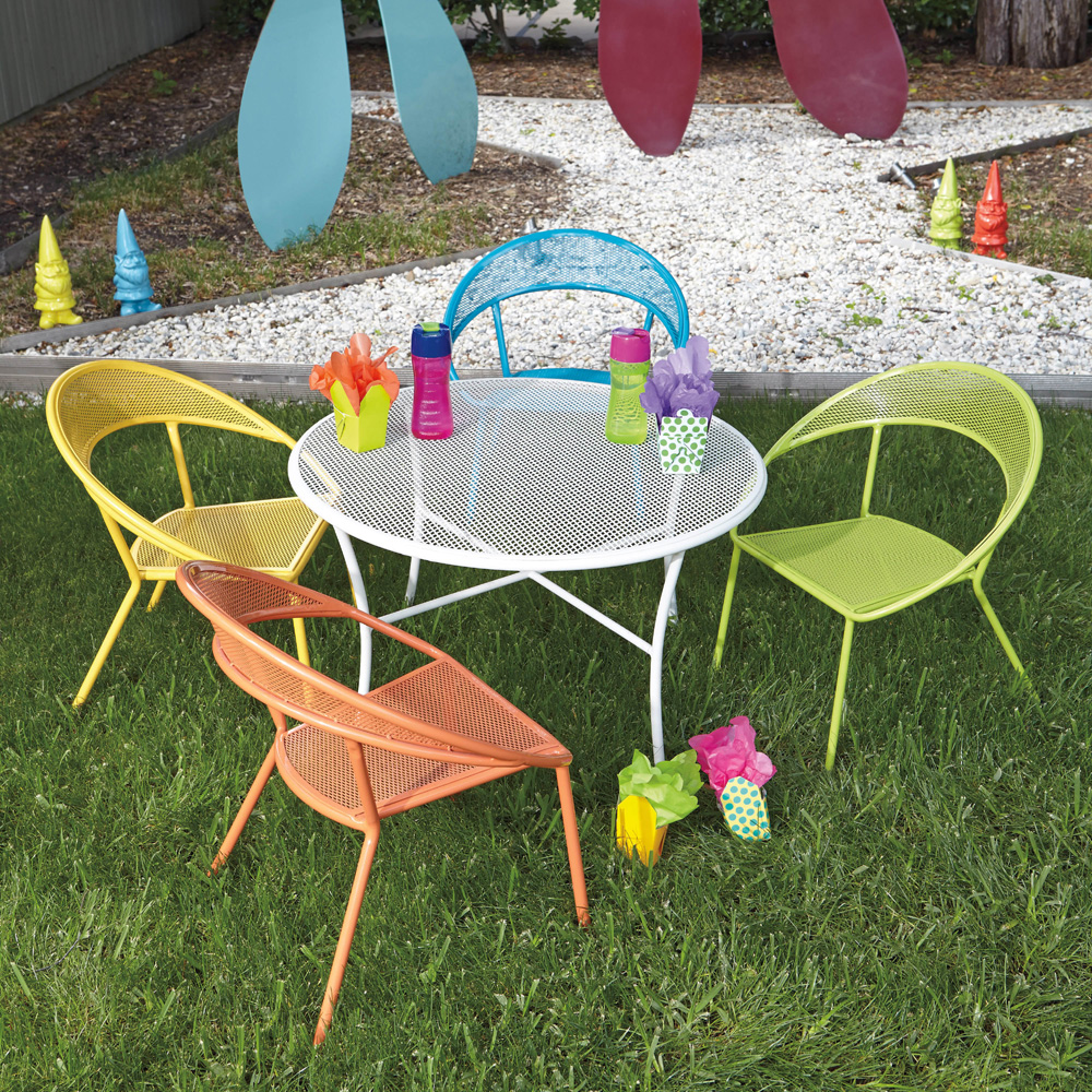 kids outdoor furniture woodard spright kids set with round table and four chairs - 9h0097 QIUTLKZ