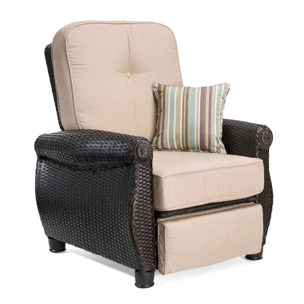 la-z boy breckenridge wicker outdoor recliner with sunbrella spectrum sand  cushion IANFSNJ