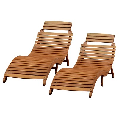 lahaina set of 2 acacia wood patio chaise lounge - natural yellow YVPVSOT