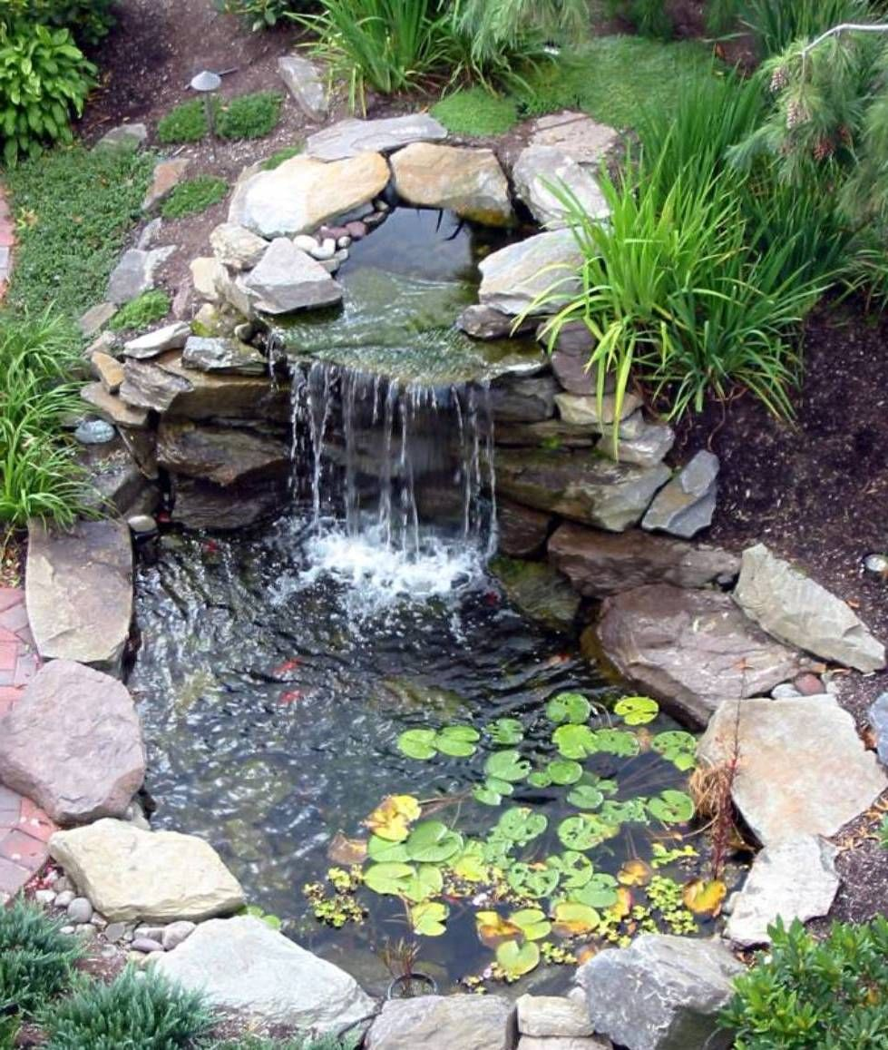 landscaping and outdoor building , relaxing waterfalls backyard ponds :  waterfalls JKBNYFV