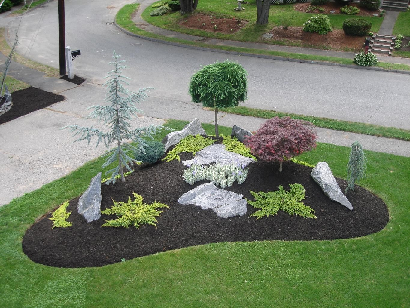 landscaping designs simple landscape designs with rock beds - this is similar to what KUCYVUX