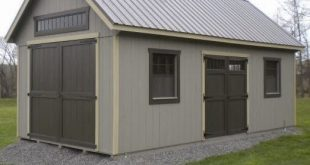 large shed 12u0027x24u0027 custom garden shed with tall walls, additional large wood doors, JHSDBHW