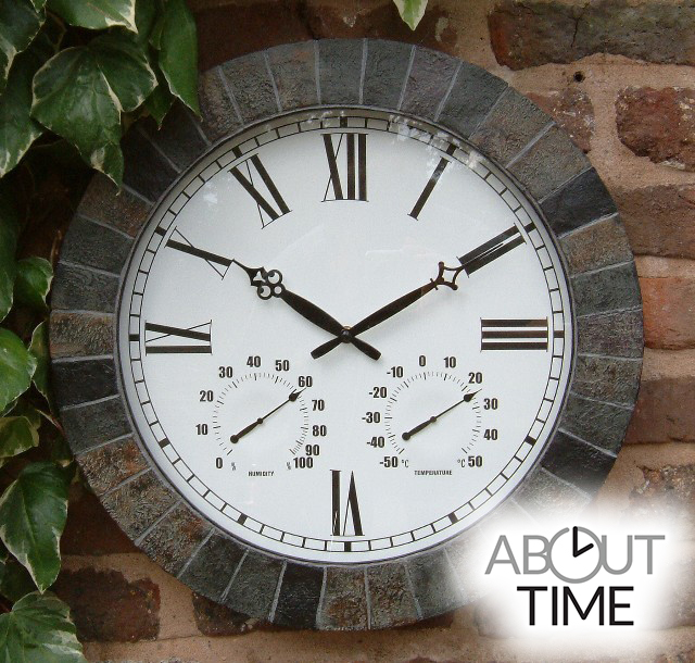 large slate effect outdoor garden clock with thermometer - 45cm (17.7 QJWOGJO