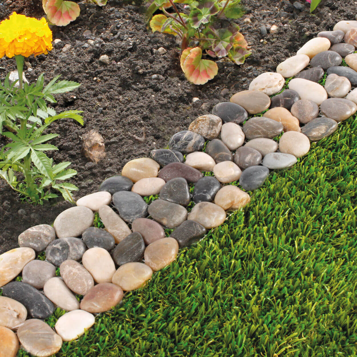lawn edging ideas pretty polished multicolored stone edge VEFXOJY