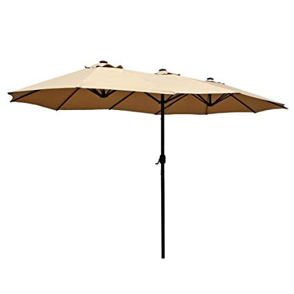 le papillon 14 ft patio outdoor umbrella double-sided aluminum table patio JNUVIAS