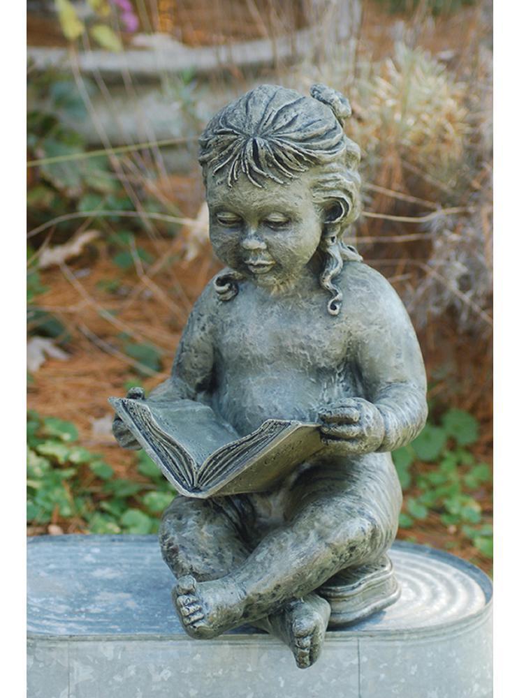 little girl reading garden statue QQEXIMI