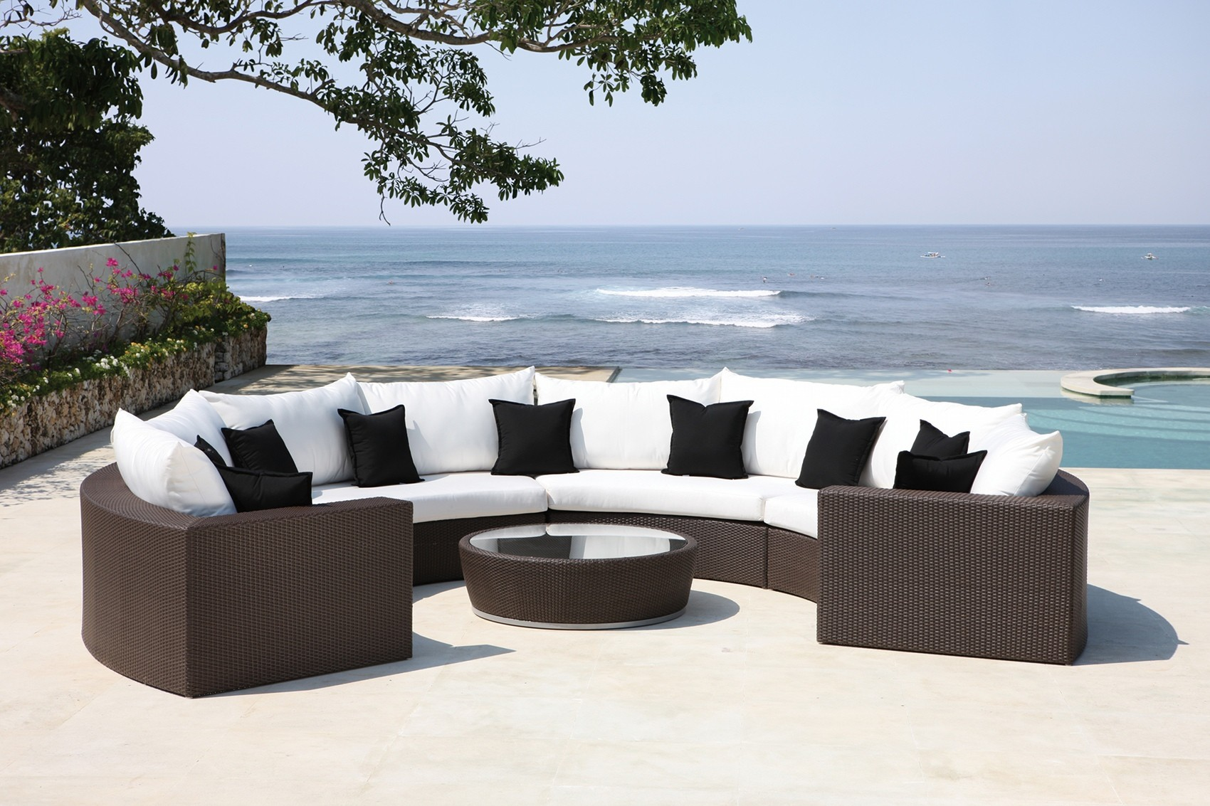 luxury garden furniture malai half moon lounger JAEXYNA