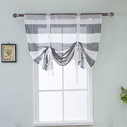 meiyimi balloon shades rugby striped curtain tie up - shade valance window LBMHVQU