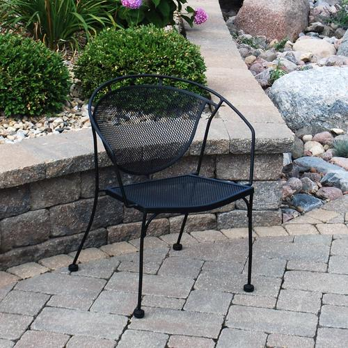 menards patio furniture backyard creations® wrought iron barrel patio chair at menards® ZVPCHPM