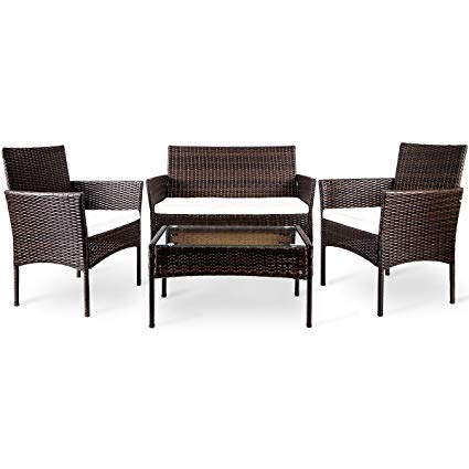 merax 4 pc outdoor garden rattan patio furniture set cushioned seat wicker ZOZWQXL