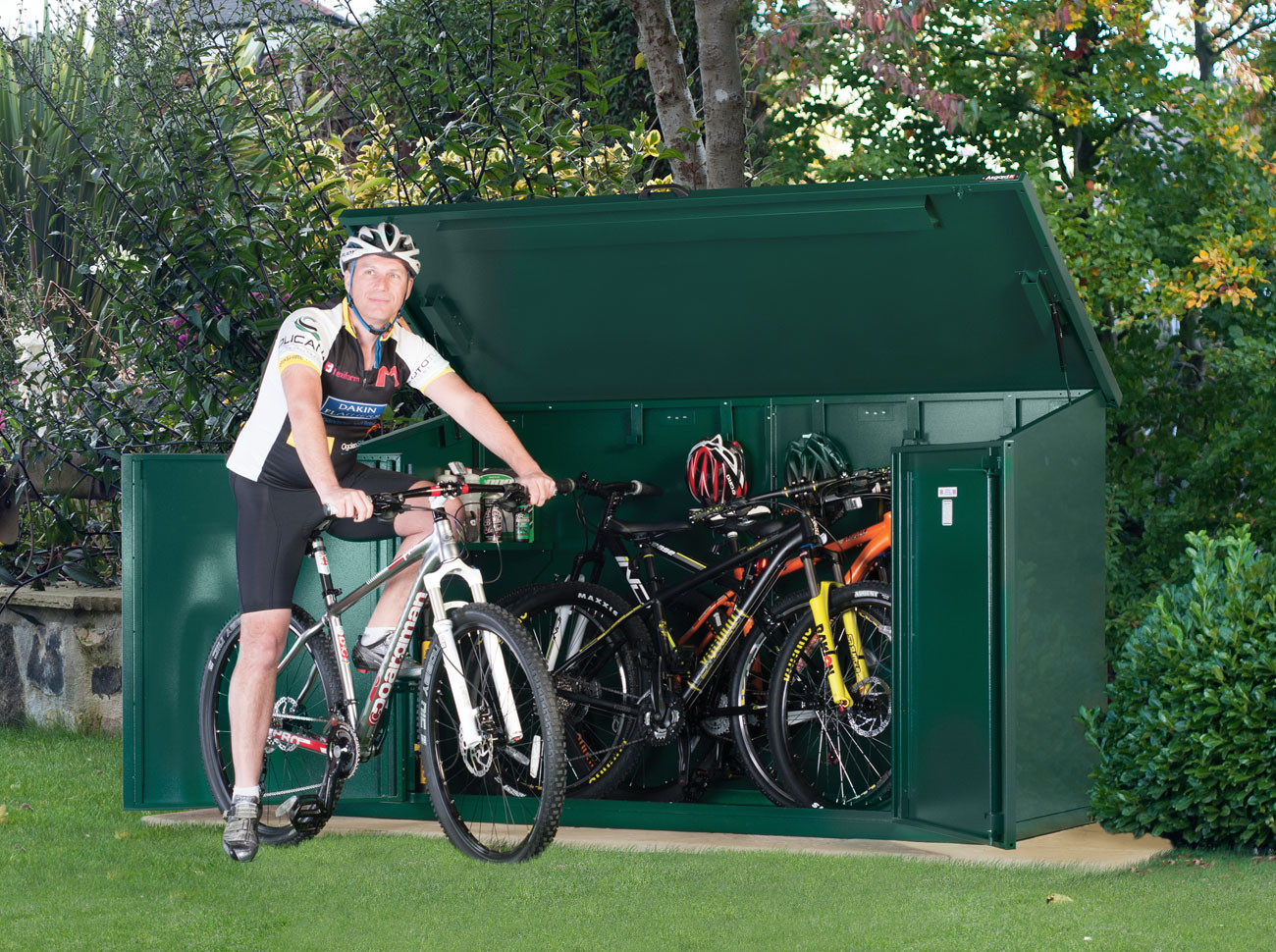 metal bike storage shed for 4 mountain or