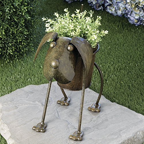 metal dog planter - animal urn planter - cute metal garden art CXAFOBY