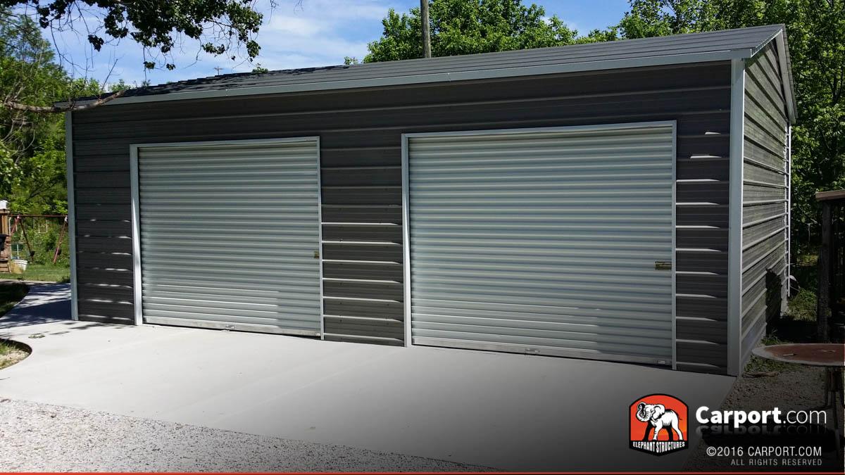 metal garage kits 21x24 custom two car garage with grey roof and white trim BUDKECC