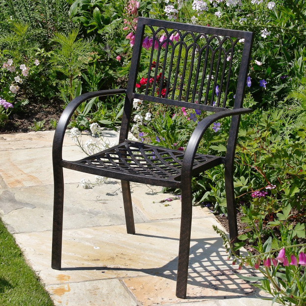 metal garden chairs mary-stacking-metal-garden-chair-cast-aluminium-antique- OHKMEFX