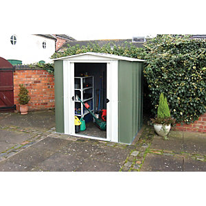 metal garden sheds rowlinson double door metal apex shed without floor - 6 x 5 WBEISCC