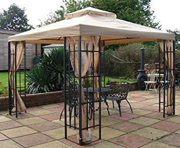 metal gazebo buckingham metal framed luxury gazebo beige canopy 3m x 3m includes RNZSJDD