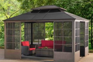 metal gazebo sunjoy 12 ft. w x 14 ft. d metal patio gazebo | YVQOZDK