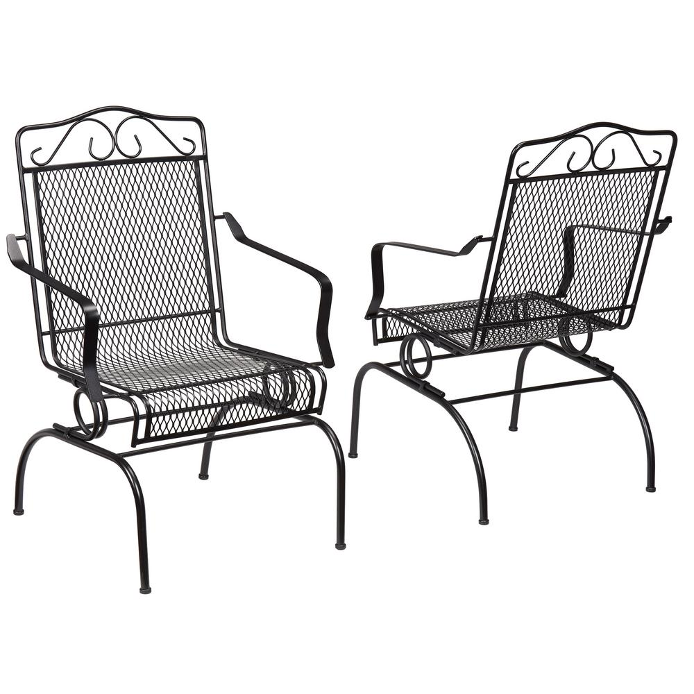 metal outdoor chairs hampton bay nantucket rocking metal outdoor dining chair (2-pack) RAVUMBT