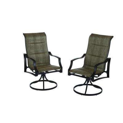 metal outdoor chairs statesville padded sling swivel patio dining chair (2-pack) DQJPYEG