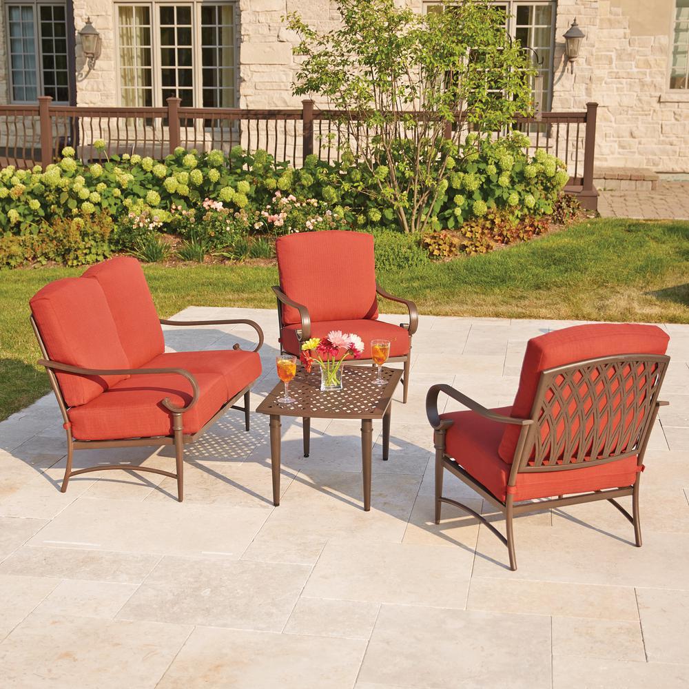 metal outdoor furniture hampton bay oak cliff 4-piece metal outdoor deep seating set with chili GKURMVY