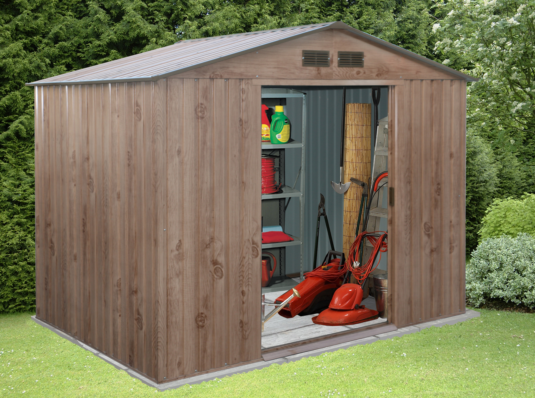 metal sheds billyoh 10 x 8 partner woodgrain apex metal garden shed VEEVAPT