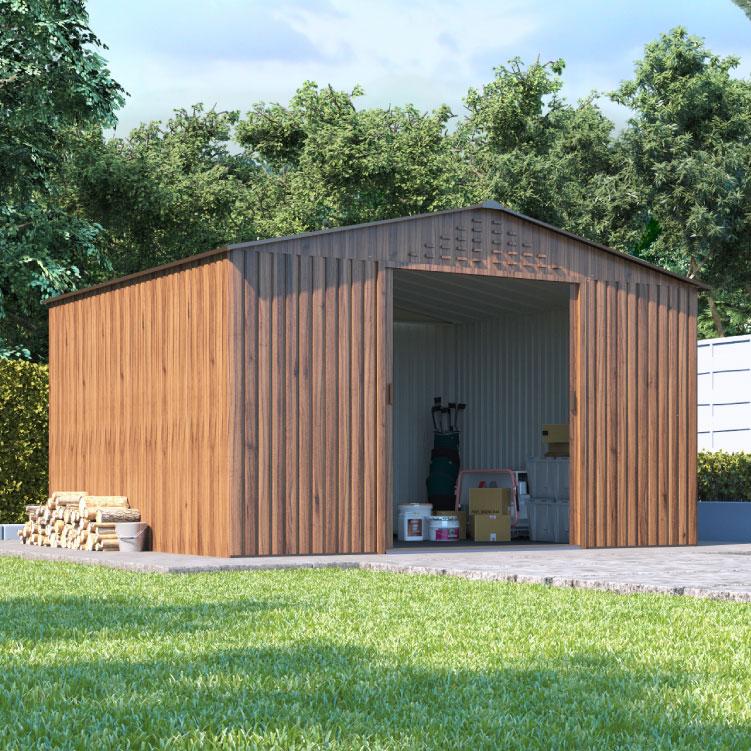 metal sheds billyoh partner woodgrain apex roof metal shed - garden sheds - garden NVZCRFY