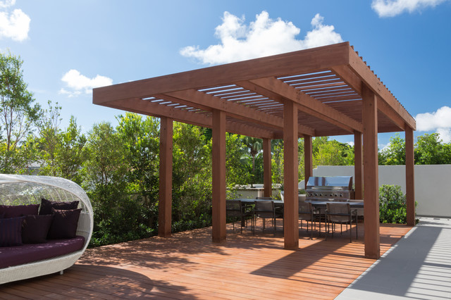 modern pergola modern wood pergola south miami townhouse contemporary deck miami touzet  studio NCCGOYY