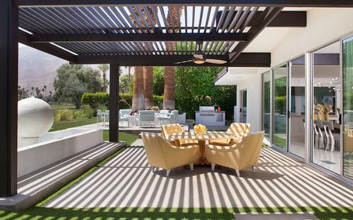 modern pergola with outdoor ceiling fan GNDAMFK