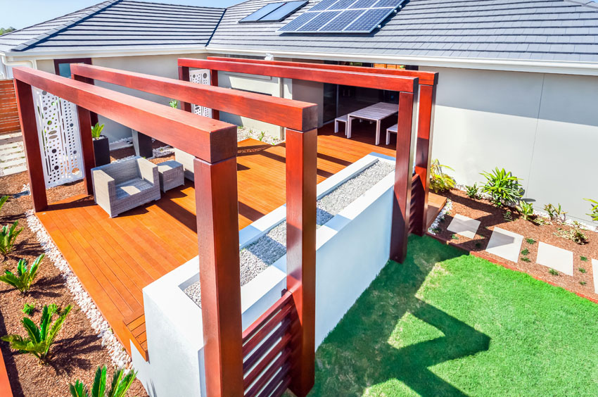 modern pergola with wood deck and fire pit with asian style TZCSIAN