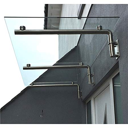 monstershop 1800 x 800mm glass canopy, 4 stainless steel brackets,  front/back LWZTAHG