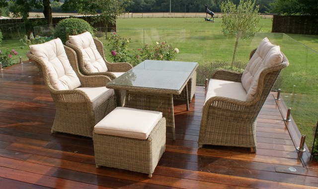 mustique - high back sofa dining set champagne