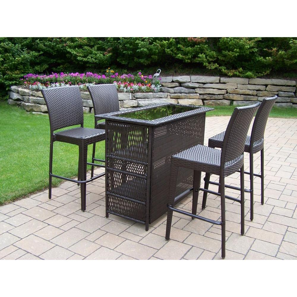 oakland living elite resin wicker 5-piece patio bar set WRYAQKV