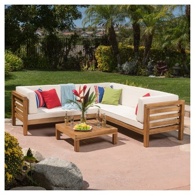 oana 4pc acacia wood patio sectional chat set w/ cushions - christopher JVZPCOX