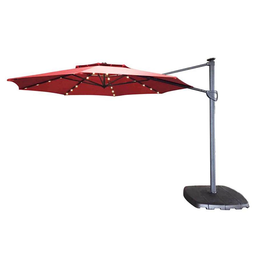 offset patio umbrella simply shade red offset pre-lit 11-ft patio umbrella with base EGFMFMI