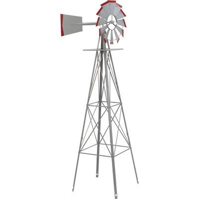 ornamental garden windmill - galvanized with red tips JVYBFIV