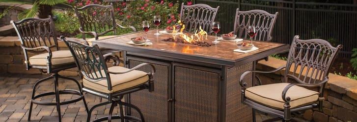 outdoor bar furniture agio-balmoral-fire-bar-table-aluminum-wicker-buckingham XDEQZSY