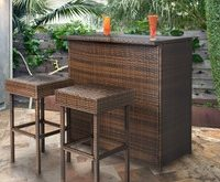 outdoor bar furniture best choice products 3pc wicker