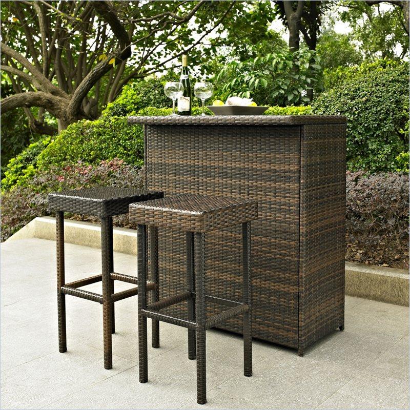 outdoor bar furniture crosley furniture palm harbor 3 piece outdoor wicker bar set VUJWMVF