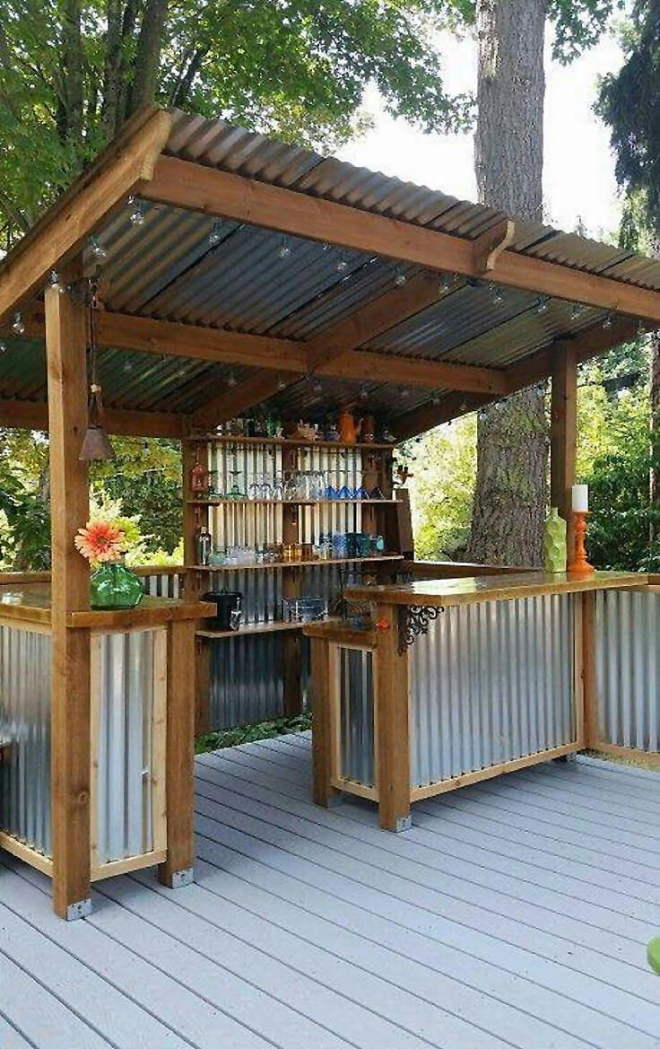 outdoor bar ideas diy corrugated metal outdoor bar ZKUZKHY
