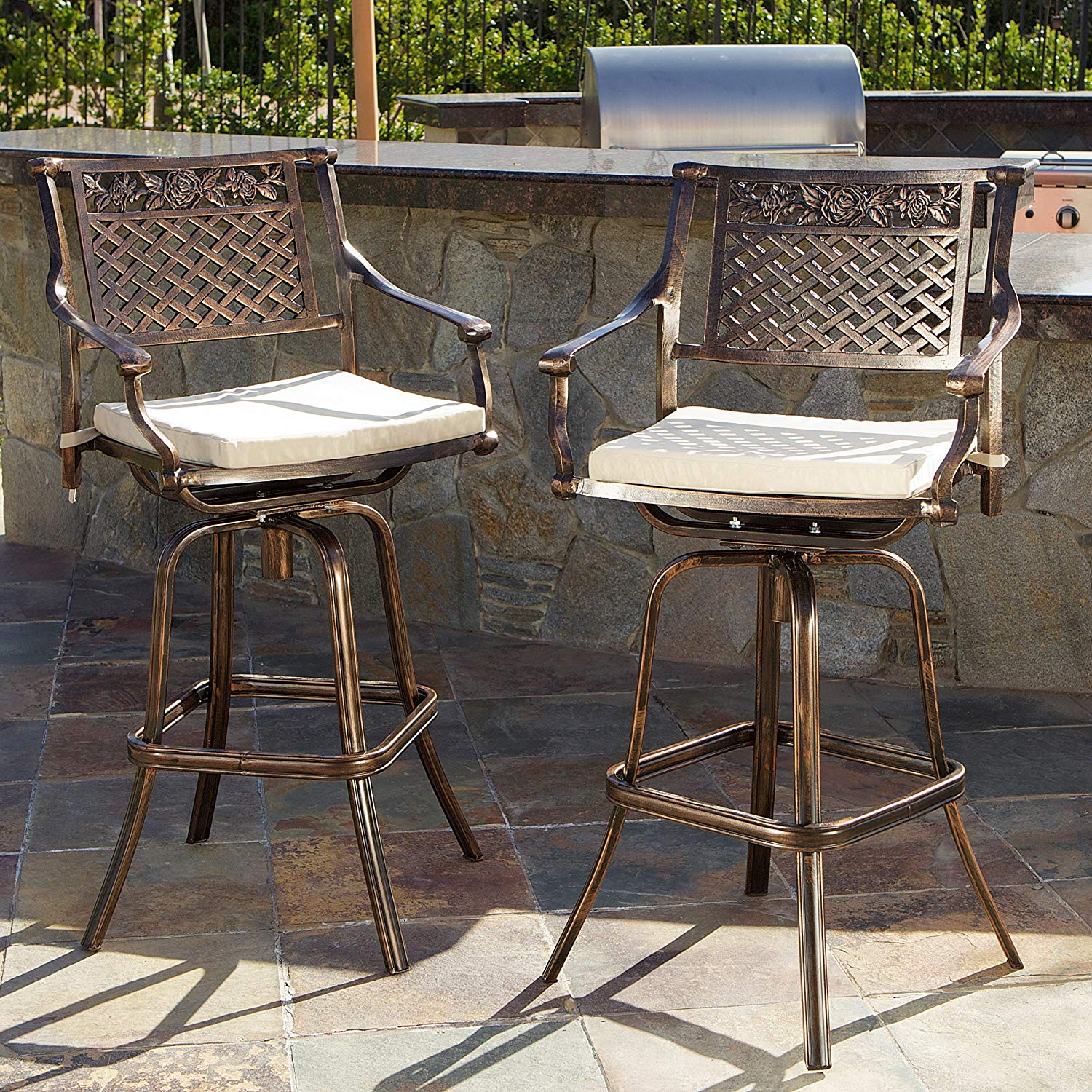 outdoor bar stools amazon.com : sierra outdoor cast aluminum swivel bar stools w/cushion (set JOVUNUV
