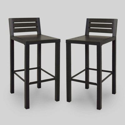 outdoor bar stools bryant 2pk faux wood patio bar stool - black - project 62™ MHLDBXW