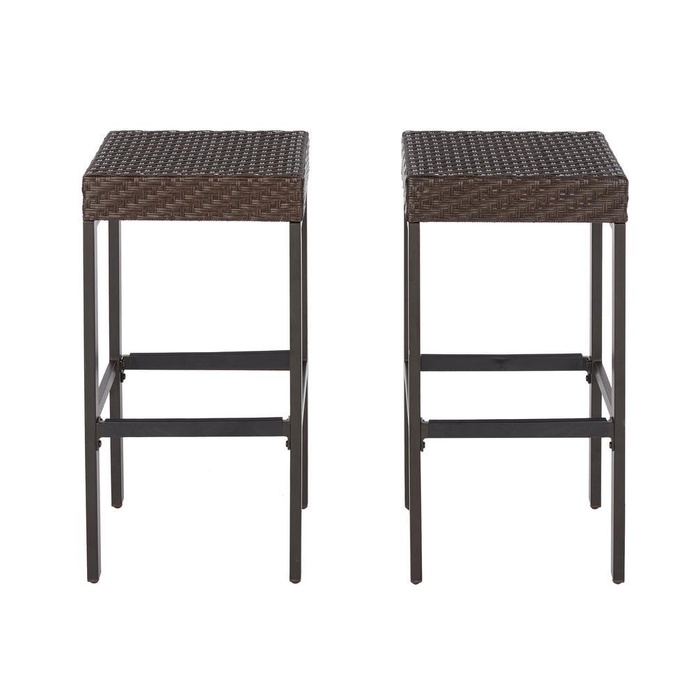outdoor bar stools hampton bay rehoboth dark brown