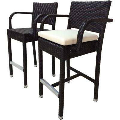 outdoor bar stools sunflower espresso all-weather wicker patio outdoor bar stool ... ROTTOZZ