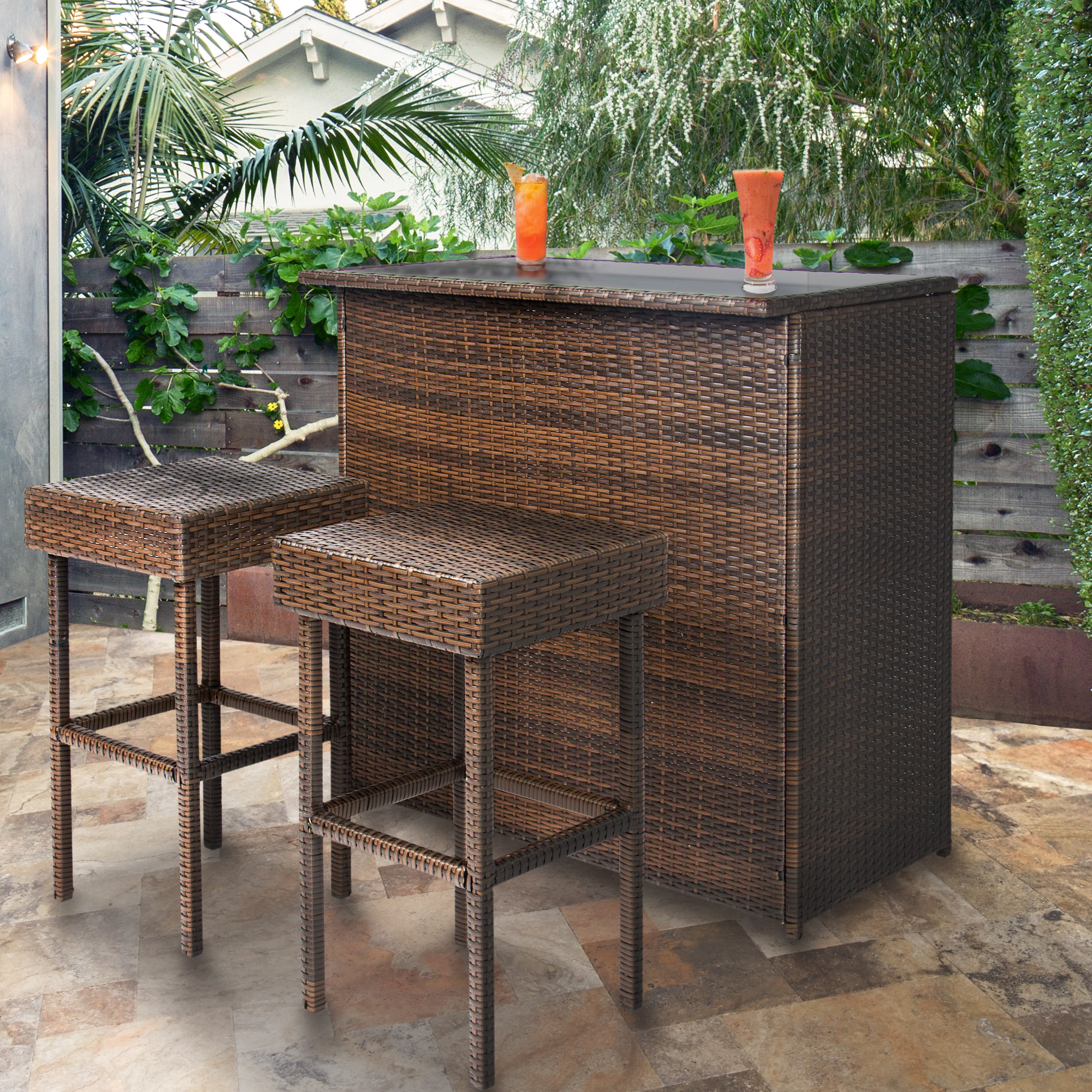 outdoor bar table best choice products 3pc wicker bar set patio outdoor backyard table u0026 EFXWYAL