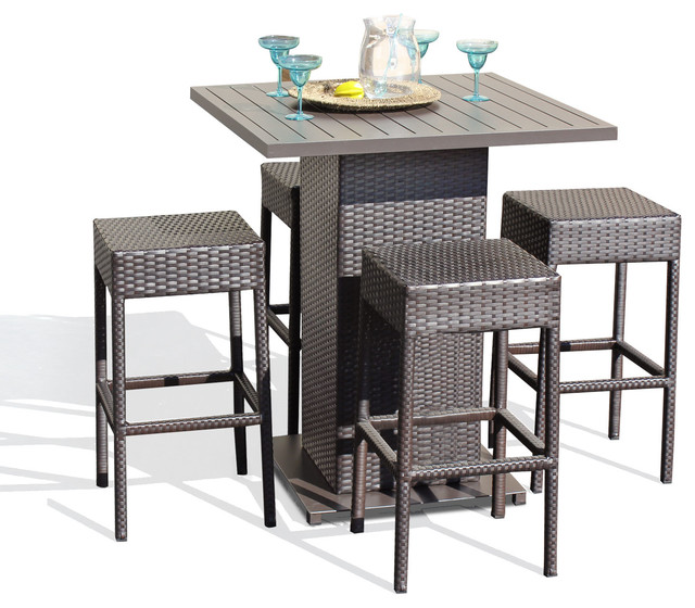 outdoor bar table venus outdoor pub table with bar stools, 5-piece set, backless CGLXHXI