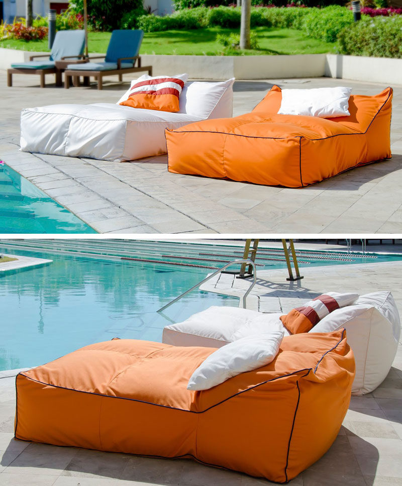 outdoor beds get extra comfy on these squishy yet supportive outdoor bean bag beds NLYWCQJ